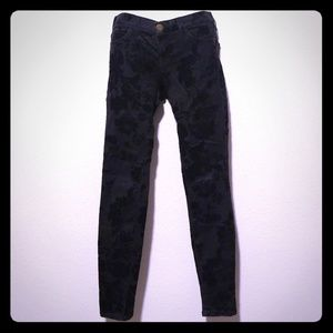 Black velvet floral jeans